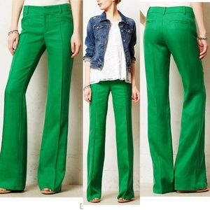 Green Anthropologie Brighton Linen Pants Elevenses